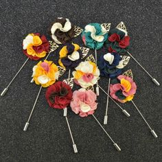 Fashion men brooch flower lapel pin 3cm suit boutonniere fabric yarn pin 11 colors button metal leaves broochers Wholesale