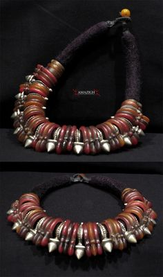 Niger | Necklace from the Tuareg people | 10 Zinder Crosses (tribal metal) and 39 Khourb rings (bakelite) | Mid 20th century | Sold