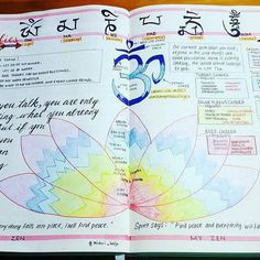 """A gorgeous Sunday Self-Care spread from @midori_bujo: My Zen pages. Across the top is """"om ma ni pad me hum"""" written in Tibetan script. The mantra purifies ego, jeolousy, passion, ignorance, greed, and hatred. . Below it is """"om"""" [symbol] which is all encompassing and often used to connect with your higher self during meditation. """"Just for today"""" left section are the Reiki (energy healing) principles. The colorful lotus and boxes on the right represent chakra colors and ..."""