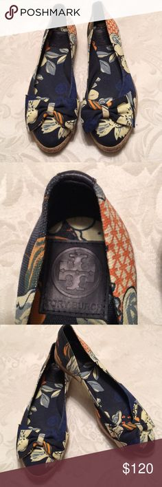 New Tory Burch Navy Floral Bow Tie Flat Shoes 7 Brand new Tory Burch Navy Floral Bow Tie Flats Shoes. Size 7. Canvas. Tory Burch Shoes Flats & Loafers