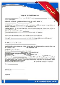 Catering Contract CATERING CONTRACT Name | Birthday Parties!...and ...
