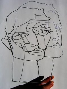wire sculpture, head with shaddow by polyscene, via Flickr
