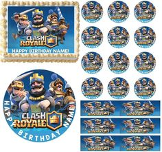 Clash Royale Edible Cake Topper Image Cupcakes Cake Decoration Clash of Clans Happy Birthday Name, 9th Birthday, Birthday Parties, Birthday Cakes, Torta Clash Royale, Clash Of Clans Hack, Royal Party, Edible Cake Toppers, Cupcake Cakes