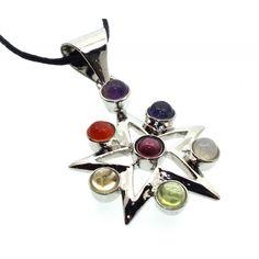Chakra Gemstone Star Pendant