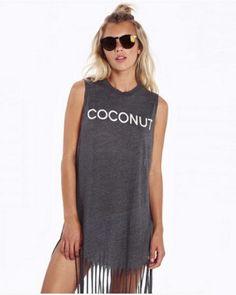 Gray fringe tank dress for women long t shirt dress sleeveless coconut design