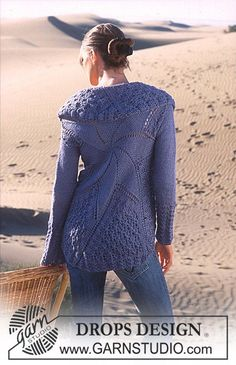 """Stella Marina - DROPS Cardigan in """"art knitting"""" with Alpaca and Cotton Viscose, based on a circle. - Free pattern by DROPS Design Knitting Patterns Free, Knit Patterns, Free Knitting, Free Pattern, Drops Design, Crochet Cardigan, Knit Or Crochet, Blue Cardigan, Alpacas"""