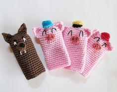 Dedoche Os três porquinhos feito em crochê.  #dedoche #fantoche #puppets