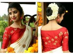 Kerala Saree Blouse Designs - Try These 15 Stylish Models Blouses For Kerala Saree are a perfect blend of tradition and modernity. Here are the best designs of Kerala saree blouses with images. Kerala Saree Blouse Designs, Saree Blouse Neck Designs, Bridal Blouse Designs, Red Blouse Saree, Saree Dress, Saris, Traditional Blouse Designs, Set Saree, Indian Bridal Hairstyles
