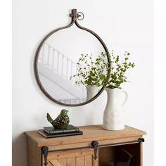 Round Wall Mirror, Wall Mounted Mirror, Round Mirrors, Entryway Mirror, Entryway Ideas, Mirror Mirror, Entryway Decor, Round Bathroom Mirror, Office Decor