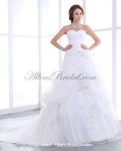 Organza Satin Sweetheart Chapel Train A-Line Wedding Dress on sale at affordable prices, buy Organza Satin Sweetheart Chapel Train A-Line Wedding Dress at AllensBridal.com now!