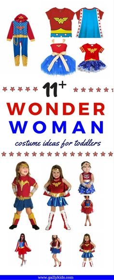 Wonder Woman costumes for toddlers. Great for Halloween and pretend play. Choose which one is best for your little one. Pick a complete set or just mix and match. Perhaps a tutu dress would be best or a t shirt with a cape? click here and find out. #toddlerwonderwomancostumes