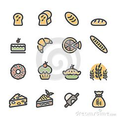 Bakery icon set, flat line color version, vector eps10