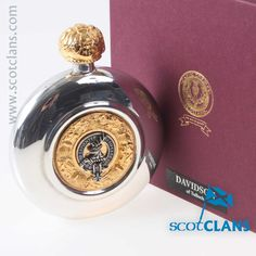 Davidson Clan Crest Sporran Flask. Free worldwide shipping available.