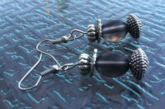 Smokey Glass and Silver Metal Bead Earrings by TripIntoLight, $10.00