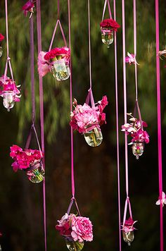 Love the Ribbon hanging flower votives- much harder then it looks, but worth the extra work.