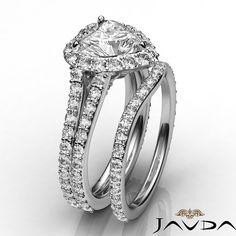 Heart Cut Diamond Halo Engagement GIA I VS2 14k White Gold Bridal Set Ring 2 8ct | eBay
