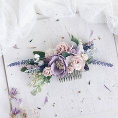 Flower Hair comb, Lavender Bridal hair comb, Wedding hair piece, Bridal flower hair
