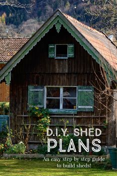 She Said, I Want a SHE SHED! DIY Ideas, Plans & Kits • The Garden Glove Barn Style Doors, Gambrel, Tool Sheds, Shed Plans, Metal Roof, Step Guide, Glove, Diy Ideas, Art Drawings