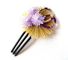 Tsumami Kanzashi Hair Comb Bronze and Lavender