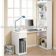 diy bookshelf with desk | DIY craft or computer desk with bookcase