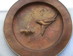 AWE INSPIRING Fine COPPER Plate ART NOUVEAU Japanese MUSEUM QUALITY Hand Crafted