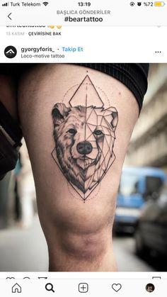 Bear Tattoos, Animal Tattoos, Life Tattoos, Tattoos For Guys, Geometric Bear Tattoo, Geometric Tattoo Design, Upper Leg Tattoos, Clever Tattoos, Sunset Tattoos