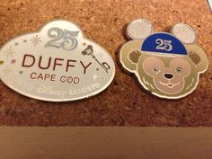 Duffy Bear Sailor 25th Anniv Ears HAT Name Badge Tokyo Disney 2 PIN SET | eBay