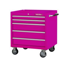 The Original Pink Box Tool Organization, Tool Storage, Storage Spaces, Closet Storage, Pink Tool Box, Home Workshop, Extruded Aluminum, Everything Pink, Adjustable Shelving