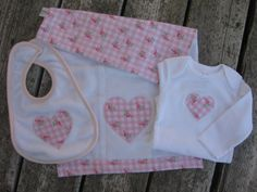 Baby girl gift set in soft flannel pink by OliveStreetStudio, $25.00