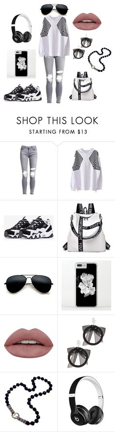 """EXO Groupie Outfit"" by supernaturalbeauty ❤ liked on Polyvore featuring AMIRI, WithChic, Skechers, Fallon, Beats by Dr. Dre, white, black, EXO and overdose"