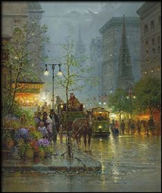 Harvey Art--Vendors on the Avenue by G. Harvey, a G. Harvey limited edition available from J Watson Fine Art 661 your source for G. G Harvey, Art Through The Ages, Historical Art, City Art, Western Art, American Art, Art Photography, Art Gallery, Illustration Art