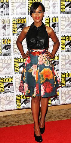 Toughen up retro florals with a leather top, like Kerry Washington did in A.L.C and J. Mendel