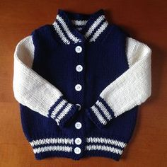 Ravelry: Baby Letterman Jacket pattern by Angie Schumacher Boys Knitting Patterns Free, Baby Cardigan Knitting Pattern Free, Baby Sweater Patterns, Crochet Cardigan, Free Knitting, Sewing Patterns, Baby Boy Cardigan, Cardigan Bebe, Knit Baby Sweaters