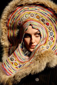 Jean Paul Gaultier -  fur embroidered headgear