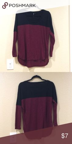 Cotton on black and burgundy color block top Top fits loose but sleeves hug the arms. Cute with leggings. Slight high low. Perfect throw on basic. Cotton On Tops Tees - Long Sleeve