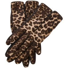 Lanvin Leopard Print Gloves featuring polyvore women's fashion clothing gloves accessories black lanvin