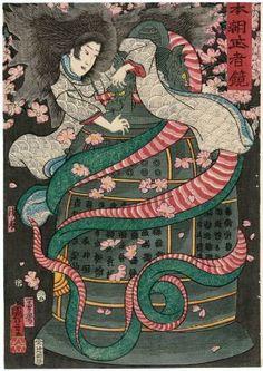 Kiyo-hime, from the series Mirror of Warriors of Our Country (Honchô musha kagami)  「本朝武者鏡 清姫」  Japanese, Edo period, 1855 (Ansei 2), 5th month  Artist Utagawa Kuniyoshi, Japanese, 1797–1861, Woodblock print (nishiki-e); ink and color on paper, MFA