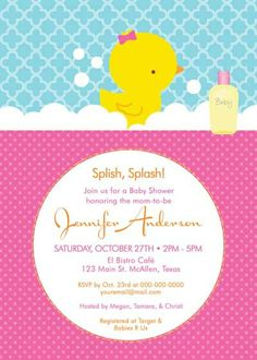 Free printable customizable duck baby shower invitation clips baby shower invitation rubber ducky for girl by belleprintables 1250 filmwisefo