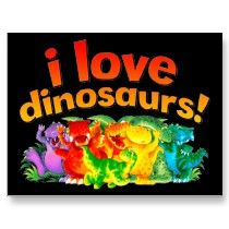 I love dinosaurs rainbow post cards by Paul Stickland for DinosaurStore on Zazzle #dinosaurs