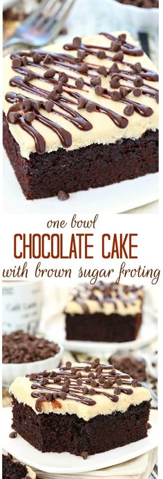 ONE BOWL CHOCOLATE CAKE WITH BROWN SUGAR FROSTING RECIPE | Food And Cake Recipes