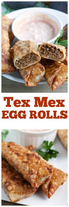 Tex Mex Egg Rolls are a delicious appetizer or meal. Filled with beef, cheese and chili spices, these rolls are a winner.