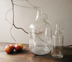 Large & Small Vintage Clear Glass Bottles or Jugs by FoxberryHill