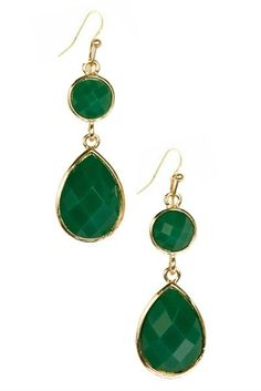 We just can't get enough of green. Add these earrings to a classic neutral combination like black pants and a white shirt to really highlight your eyes.