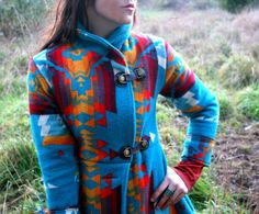 Custom Shawl Collar Navajo Wool Blanket Coat by PsychicCeremonies