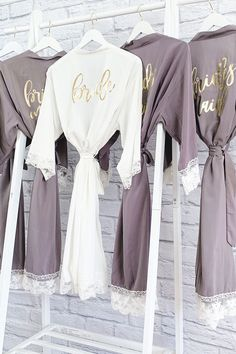 Bridesmaid Robes - Cotton Lace Pretty lace robes printed with your bridesmaid title in gold foil make a cute outfit to get ready in with your bridesmaids. Bridesmaid Get Ready Outfit, Best Bridesmaid Gifts, Bridesmaid Getting Ready, Bridesmaid Proposal Gifts, Bridesmaid Shirts, Wedding Gifts For Bridesmaids, Gifts For Wedding Party, Bridal Robes Getting Ready, Robes For Bridesmaids