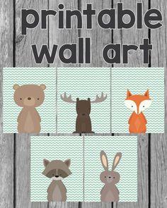 Printable Woodland Animal Wall Art 8x10 Free Baby Shower Printables, Baby Shower Activities, Shower Games, Free Printables, Woodland Creatures, Woodland Animals, Woodland Baby, Woodland Themed Nursery, Boho Baby Shower