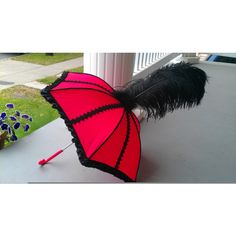 red and black lace second line umbrella found on Polyvore
