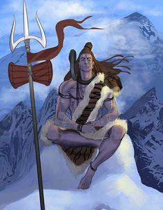 Shiva on Kailash Rudra Shiva, Shiva Shakti, Shiva Art, Hindu Art, Hanuman, Durga, Wicca, Indiana, Hindu Statues