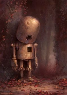 Hollow - what a beautiful illustration,,sad robot, head down, Geek Zine .com, 32 Beautiful and Creative Children's Book Illustrations – Inspiration