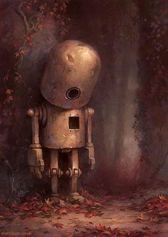 Hollow - what a beautiful illustration,,sad robot, head down, Geek Zine .com, 32 Beautiful and Creative Children's Book Illustrations – Inspiration